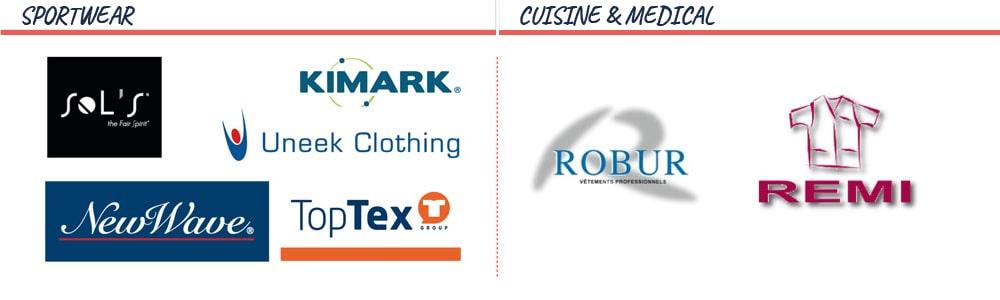 Nos partenaires en Sportwear, en Cuisine et en Médical